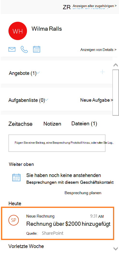 Screenshot der Anzeige von Aktivitäten aus Flow auf Zeitachse