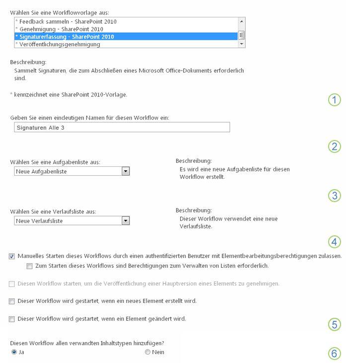 Erste Seite des Zuordnungsformulars mit Hervorhebung der Optionen