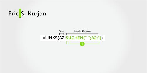 Formel zum Extrahieren eines Vor- und Nachnamens sowie einer mittleren Initiale