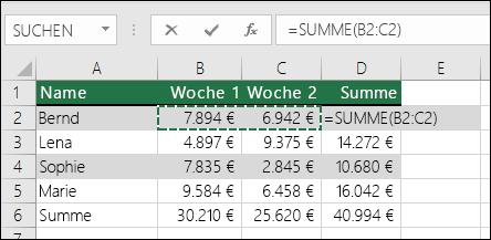 In Zelle D2 wird die AutoSumme-Formel SUMME angezeigt: =SUMME(B2:C2)