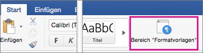 """Auf der Registerkarte """"Start"""" ist der Bereich """"Formatvorlagen"""" hervorgehoben."""