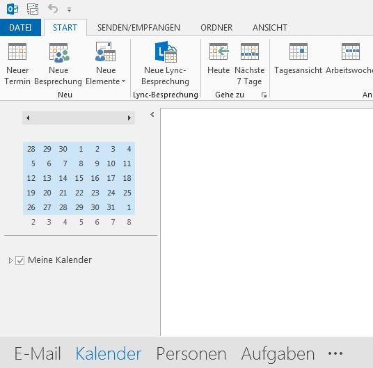 """Der Link für """"Kalender"""" befindet sich unten am Bildschirm."""