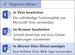"""Befehl """"Diagramm öffnen > """"In Visio-Legacydienst anzeigen"""""""