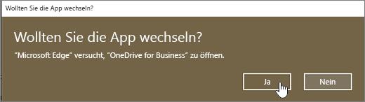 "Dialogfeld ""App wechseln"" im Windows 10-Browser Edge, ""Ja"" hervorgehoben"