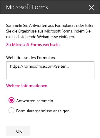 """Bereich """"Microsoft Forms-Webpart"""" für ein vorhandenes Formular."""