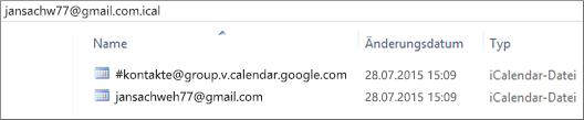 Ein Bild des Inhalts nach dem Dekomprimieren Ihres exportierten Kalenders