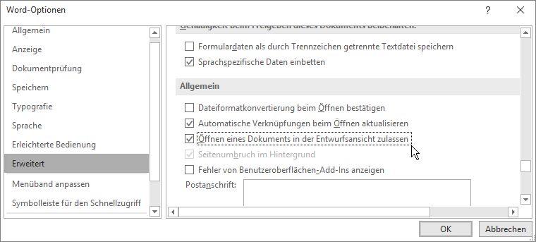 """Option """"Dateiformatkonvertierung beim Öffnen bestätigen"""""""