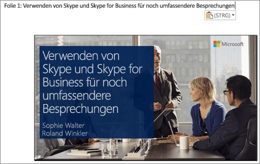 Der Bildschirmausschnitt des neuen Word-Dokuments zeigt Folie 1 mit Folientitel. Die in der Abbildung wiedergegebene Folie enthält den Folientitel, die Namen der Referenten und ein Hintergrundbild von Geschäftsleuten an einem Konferenztisch.