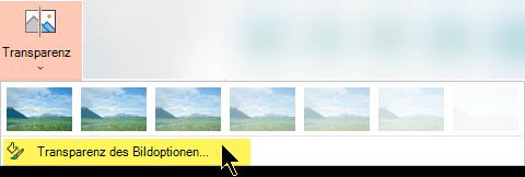 Mit den Optionen für Bild Transparenz können Sie eine benutzerdefinierte Ebene der Deckkraft für ein Bild auswählen.