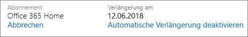 Datum, an dem das Abonnement automatisch verlängert wird