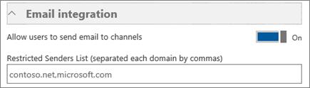 """Screenshot des Abschnitts """"E-Mail-Integration"""" auf der Seite mit den Einstellungen für Microsoft Teams. Hier können Sie die Funktion aktivieren bzw. deaktivieren, mit der Benutzer E-Mails an einen Kanal senden können."""