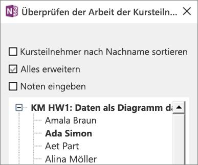 """Bereich """"Aufgaben der Schüler überprüfen"""" im Kursnotizbuch."""