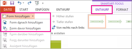 Auf der Registerkarte 'Entwurf' auf 'Form hinzufügen' klicken