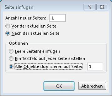 Dialogfeld zum Einfügen einer Publisher-Seite
