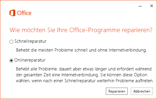"Das Dialogfeld ""Office-Reparatur"" bei der Reparatur der OneDrive for Business-Synchronisierungs-App"