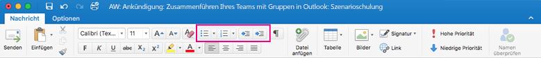 Listenschaltflächen im Menüband von Outlook für Mac
