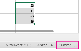 Eine Spalte mit Zahlen auswählen, um unten auf der Seite die Summe anzuzeigen