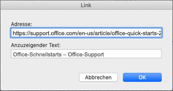 "Dialogfeld ""Link"" auf dem Mac."