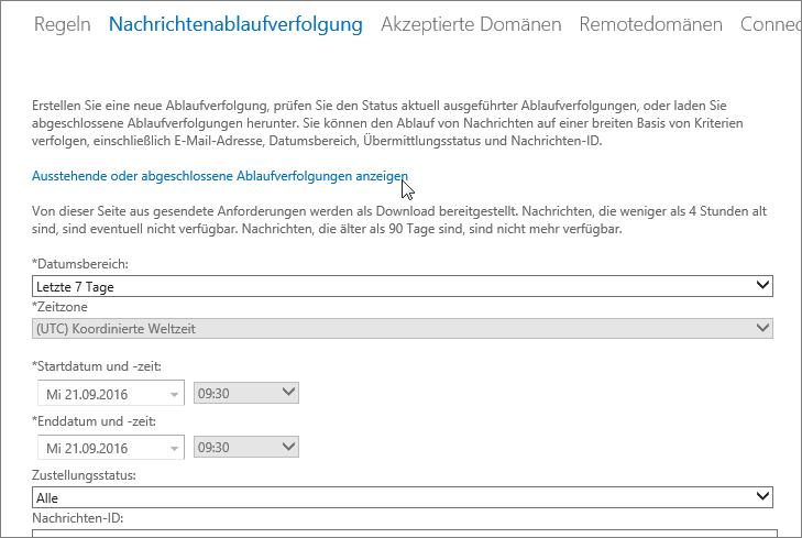 """Screenshot des Tools für die Nachrichtenablaufverfolgung mit einem Cursor, der auf den Link """"Ausstehende oder abgeschlossene Ablaufverfolgungen anzeigen"""" zeigt"""