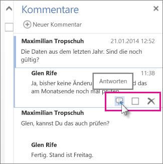 Abbildung des Befehls 'Antworten' unter dem Kommentar im Kommentarbereich von Word Web App