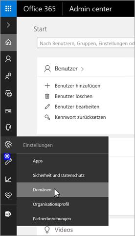 """Auf der Office 365-Administratorseite auf """"Domänen"""" klicken"""