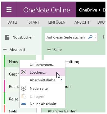 Screenshot zum Löschen eines Abschnitts in OneNote Online