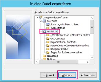 Wählen Sie die Kontakte aus, die Sie exportieren möchten.