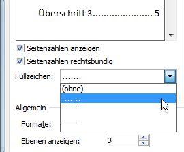 """Option """"Füllzeichen"""" im Dialogfeld """"Inhaltsverzeichnis"""""""