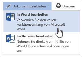 """Aus der SharePoint-Bibliothek geöffnetes Word-Dokument mit hervorgehobener Option """"In Word bearbeiten"""""""