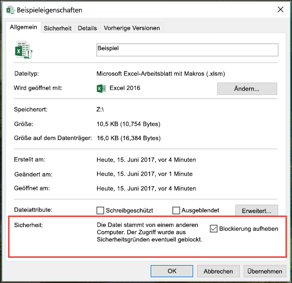 Klicken Sie im Windows-Explorer mit der rechten Maustaste, um die Sperrung der Makros aufzuheben.