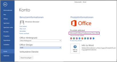 Word2013 mit der Anzeige des Fensters 'Datei' > 'Konto'