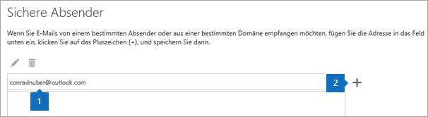 """Screenshot der Seite """"Sichere Absender""""."""