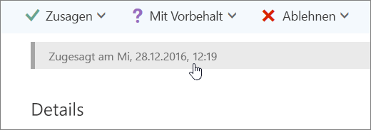 Screenshot, der zeigt, dass das Kalenderereignis angenommen wurde.