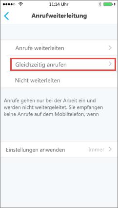 Skype for Business for iOS, Bildschirm für gleichzeitiges Anrufen
