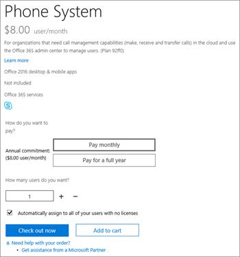 Wenn Sie Ihre Cloud PBX-Lizenzen erwerben, sehen Sie eine Option zum Kauf eines Sprachanrufplans.