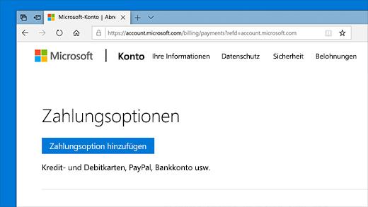 Zahlungsoptionen im Microsoft-Konto ändern