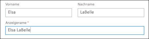 """Screenshot der Aktion zum Hinzufügen eines Benutzers in Office 365 mit den Feldern """"Vorname"""", """"Nachname"""" und """"Anzeigename""""."""