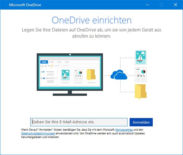OneDrive-Setup-Bildschirm, neue UI