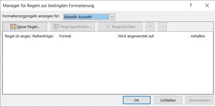 """Dialogfeld """"Manager für Regeln der bedingten Formatierung"""""""