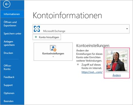 Ändern des Fotolinks in Outlook