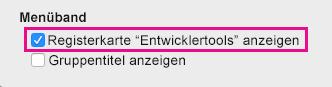 """Wählen Sie unten im Dialogfeld """"Ansicht"""" die Option """"Registerkarte """" Entwicklertools"""" anzeigen"""" aus."""
