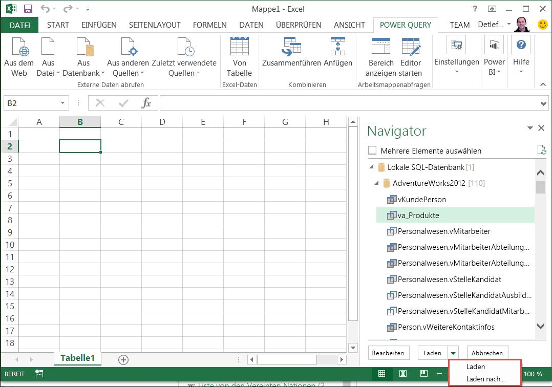 Hinzufügen einer Abfrage zu einem Excel-Arbeitsblatt (Power Query ...