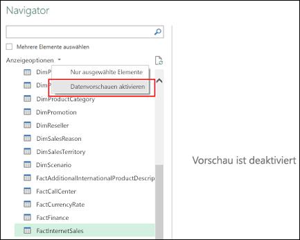 """Power Query – Möglichkeit zum Deaktivieren der Vorschau im Fenster """"Navigator"""""""
