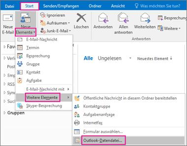 """Wählen Sie """"Neue Elemente"""" > """"Weitere Elemente"""" > """"Outlook-Datendatei"""" aus."""