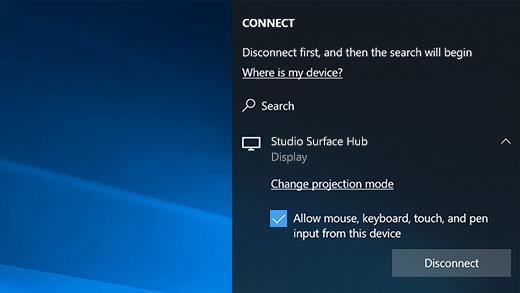 Zeigt beim Herstellen einer Verbindung mit einem Surface Hub über MiraCast das Kontrollkästchen an, das Sie aktivieren können, um die Maus, Stift-, Freihand- und Toucheingabe auf Ihrem Gerät zuzulassen.