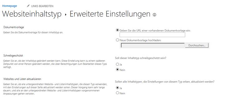 """Geben Sie die URL für die DokumentVorlage im WebsiteInhaltstyp ein: Seite """"Erweiterte Einstellungen"""""""
