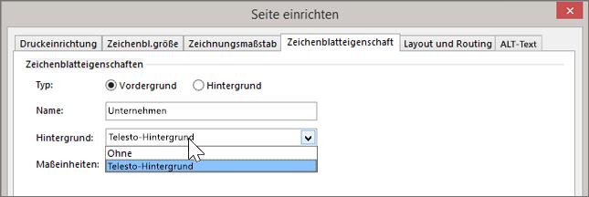 """Screenshot von """"Seite einrichten"""" > """"Zeichenblatteigenschaften"""" mit Hintergrund """"Telesto"""", der in der Dropdownliste """"Hintergrund"""" ausgewählt wurde"""