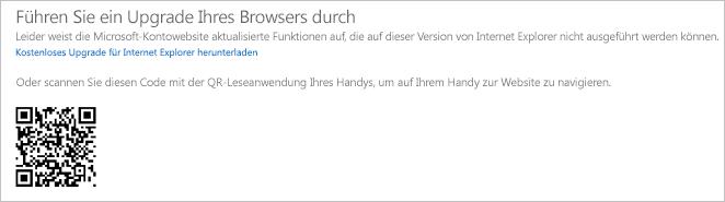 """Meldung """"Führen Sie ein Upgrade Ihres Browsers durch"""""""