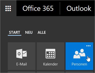 """Screenshot des Cursors, der im App-Startfeld von Office 365 auf die Kachel """"Personen"""" zeigt"""