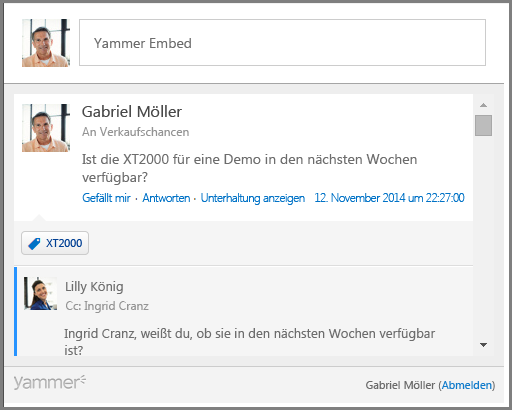 Screenshot von Yammer Embed